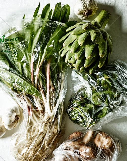 Fresh produce in plastic bags