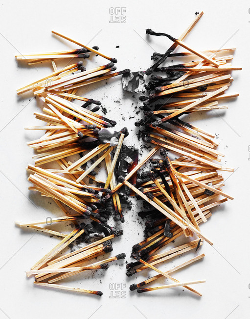 Pile of burnt matches