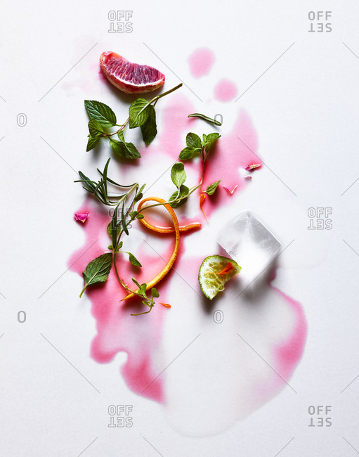 Spilled fruity cocktail