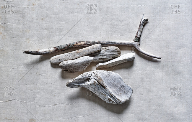 White driftwood on white background