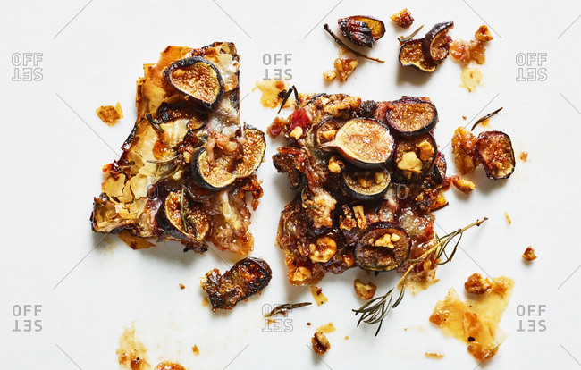 Pieces of fig tart