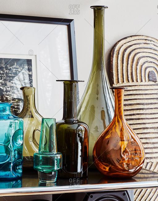 Glass vases on mantle