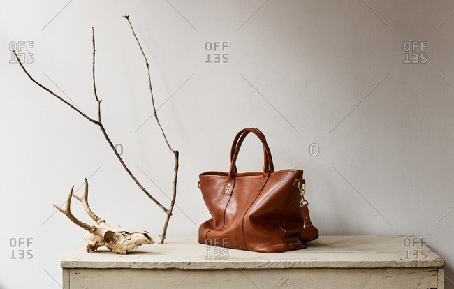 Brown leather bag and animal skull on mantle