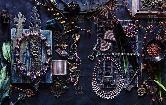 Jewelry on navy blue background