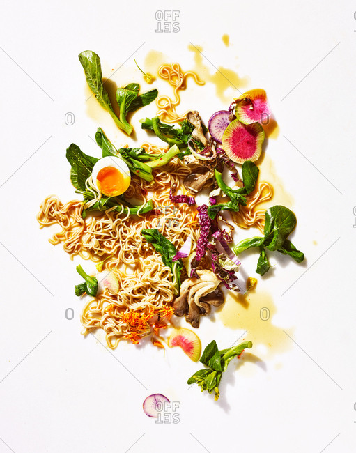 Ramen noodle ingredients on white background