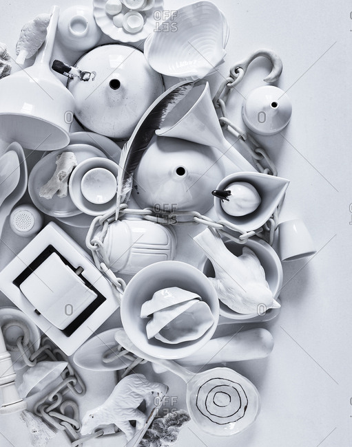 White painted objects
