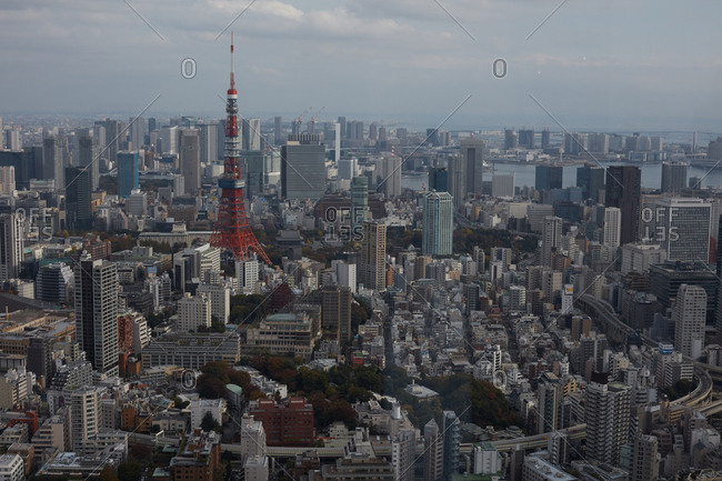 Tokyo, Japan - November 17, 2018: Aerial view of Tokyo Tower and city skyline
