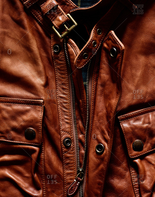 February 16, 2016 - Detail of brown leather jacket