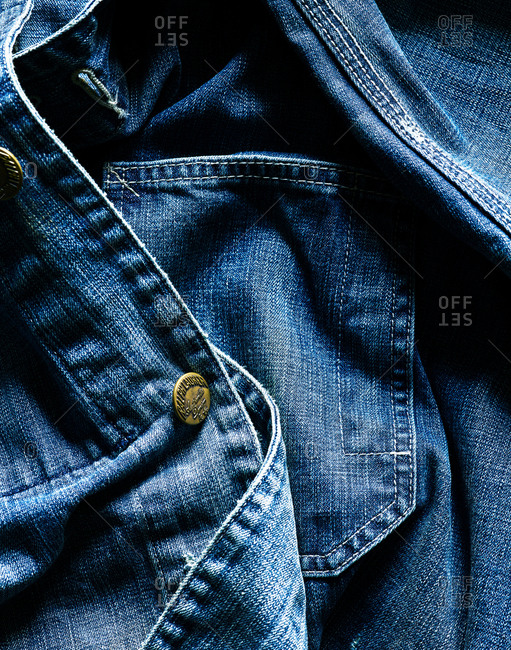 August 8, 2017 - Close-up of a Ralph Lauren denim shirt