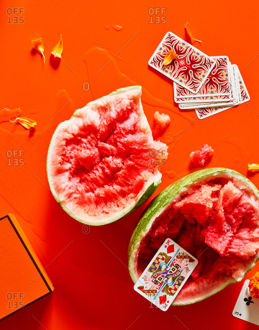 September 25, 2018 - Still life with Hermes playing cards and torn open watermelon