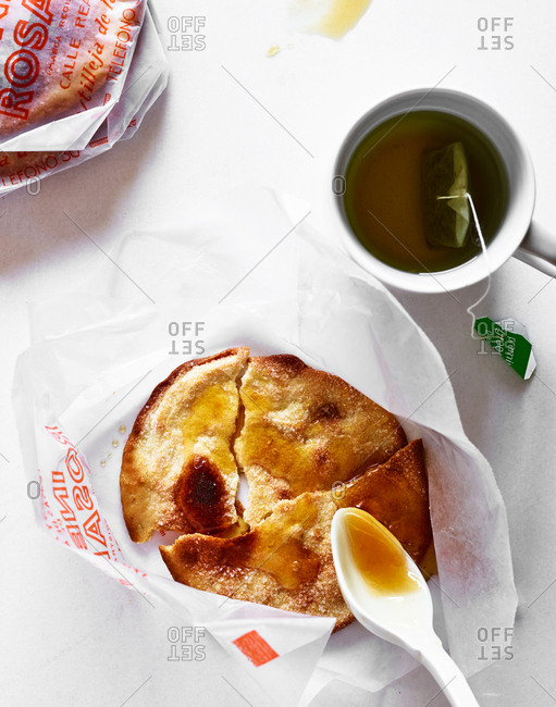 March 6, 2018 - Crispy pastry drizzled in honey served with a cup of peppermint green tea