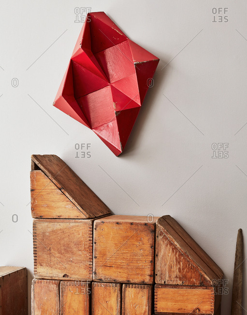 March 14, 2017 - Modern artwork made with old wooden crates