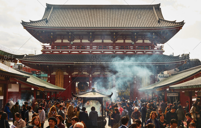 Tokyo, Japan - November 19, 2018: Crowd gathered outside the gate of the Senso-Ji Temple