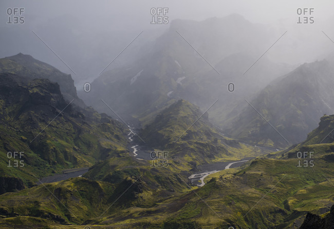 View of a scenic landscape with mountains, Thorsmork, Sudurland, Iceland
