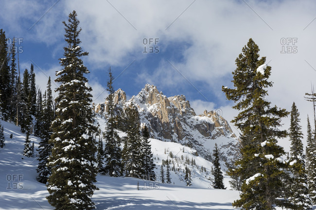 Scenic landscape with a view of mountains of the Sawtooth Range in winter, Idaho, USA