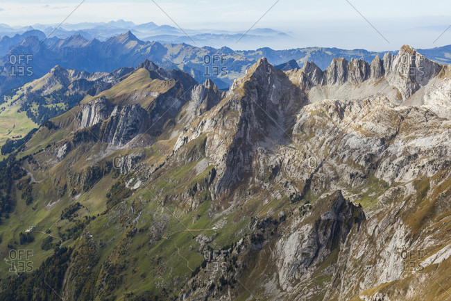Limestone ridge descending west from Santis, including Grauchopf (2215 m), Grenzchopf (2193 m), and Silberplatten (2156 m), as seen from Lisengrat, Alpstein, St Gallen Canton, Switzerland.