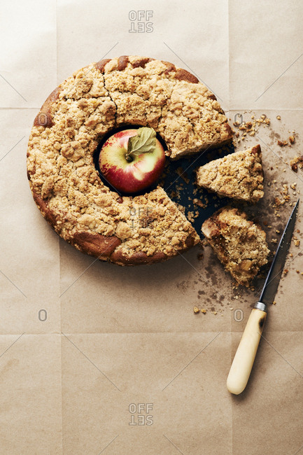 Overhead view of apple crumb cake