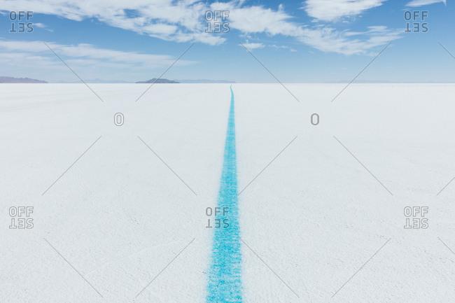 Painted blue line on Salt Flats, marking race course