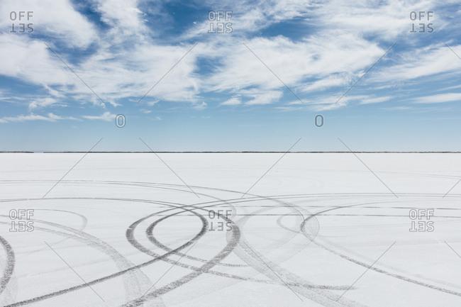 Tire tracks on Salt Flats at dawn