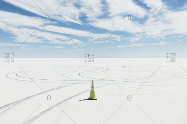 Traffic cone marking race course on Salt Flats