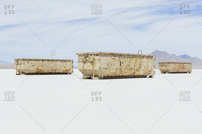 Large recycling and garbage containers on the Salt Flats
