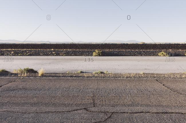 Railroad tracks in desert in the Salt Flats