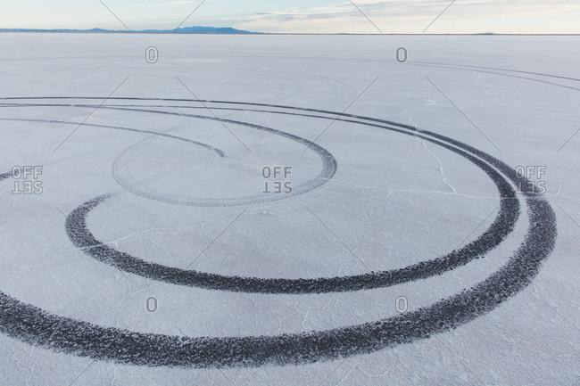 Detail of tire tracks on Salt Flats at dawn
