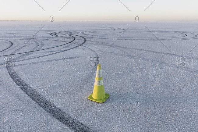 Traffic cone marking race course on the Bonneville Salt Flats