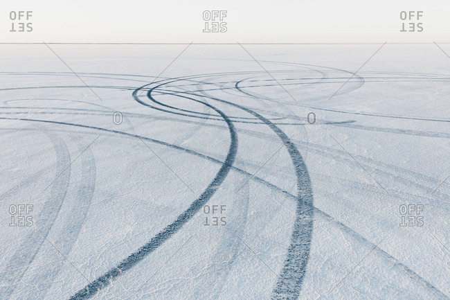 Detail of tire tracks on Salt Flats