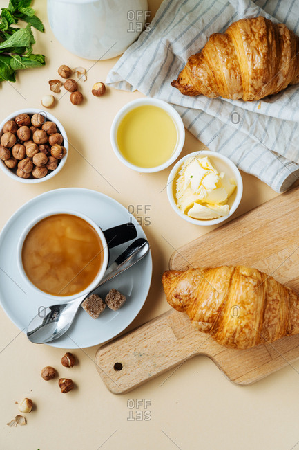 Morning croissants and coffee