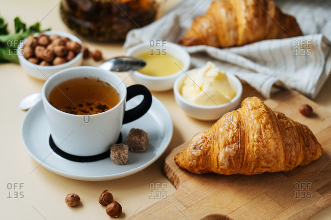 Morning croissants and tea
