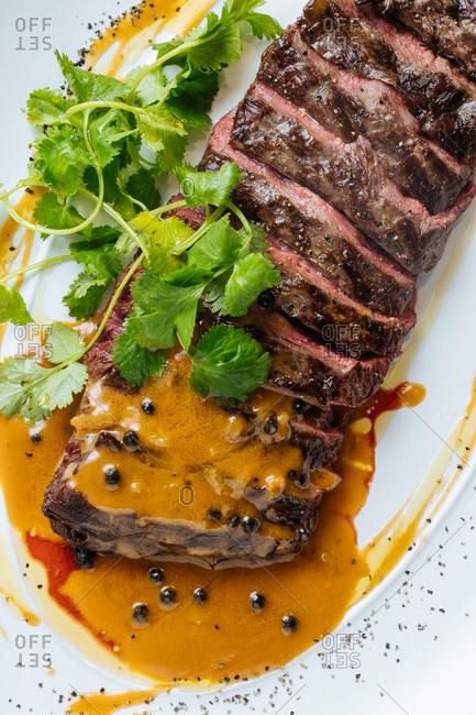 Close up of prime rib dish