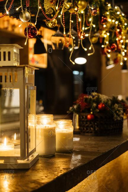 Candlelight and Christmas decor