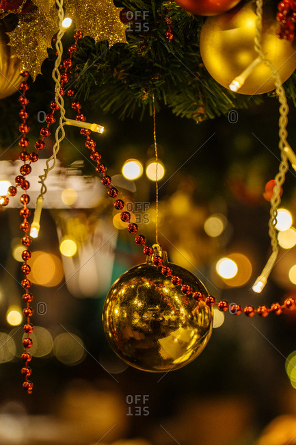 Close up of gold and red Christmas decor