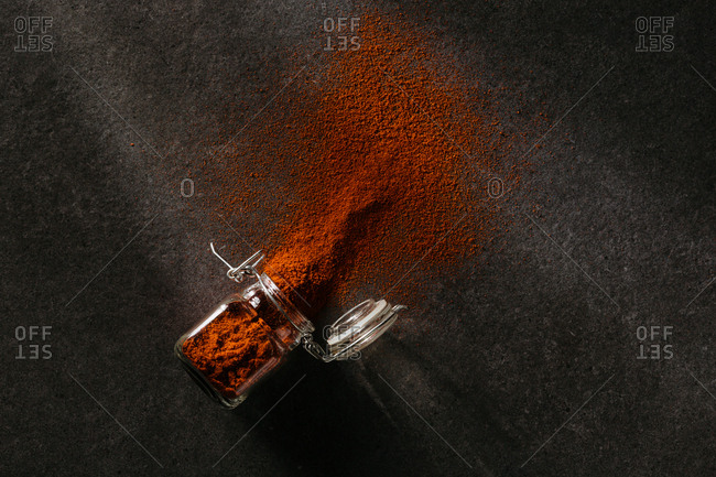 Spilled dark orange spice