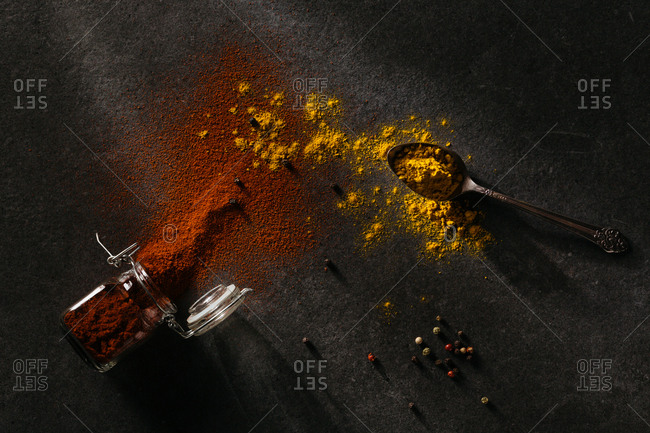 Spilled spices and peppercorn