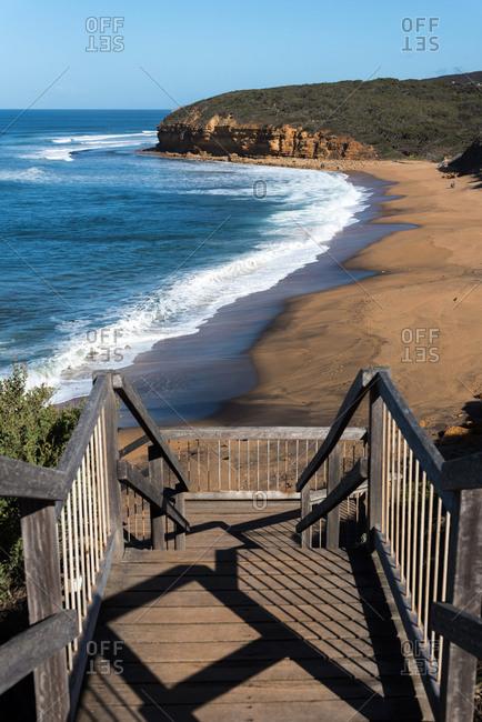 Wooden platform in Bells Beach. Victoria, Australia.