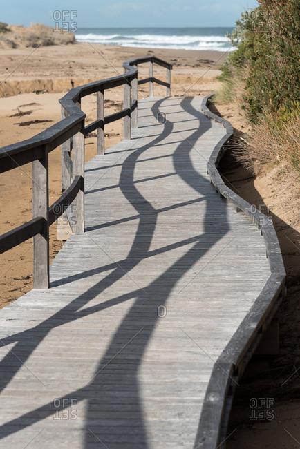 Wooden platform on the beach, Victoria, Australia