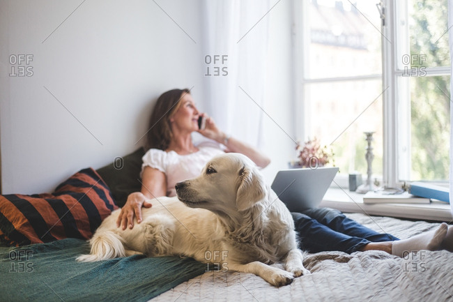 Woman touching dog while talking through mobile phone on bed at home