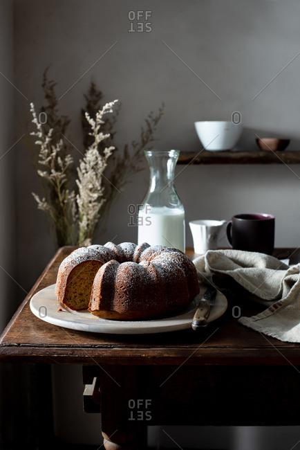 Bundt Cake in a Rustic Farmhouse Kitchen