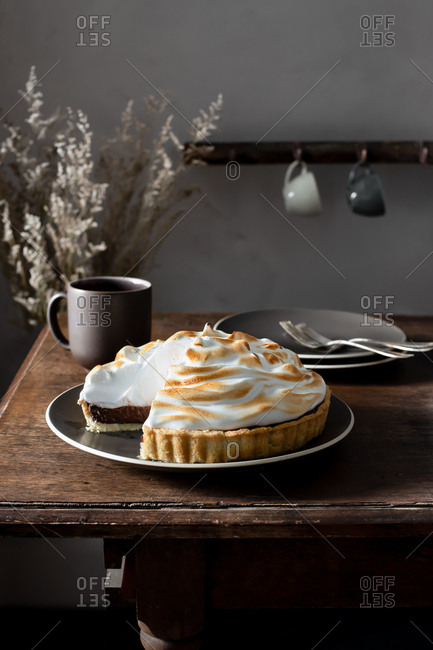 Chocolate Meringue Pie in a Rustic Farmhouse Kitchen