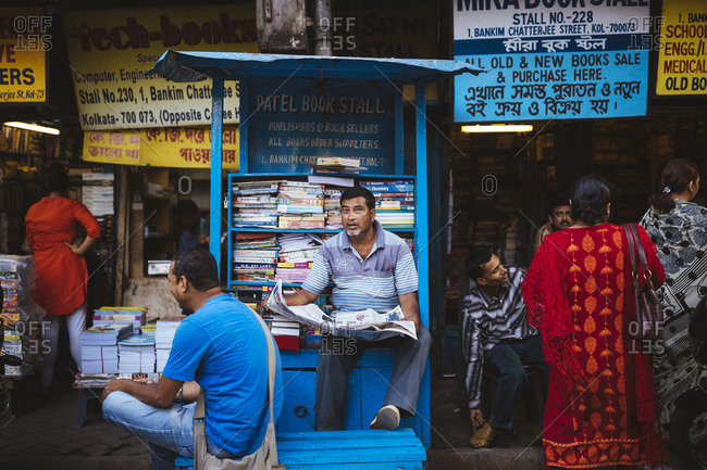 Kolkata, India - April 3, 2018: A small book stall in an alleyway off of College Street in the university area of Kolkata