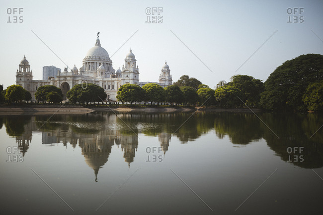 Kolkata, India - April 3, 2018: The grounds of the Victoria Memorial in Kolkata, India