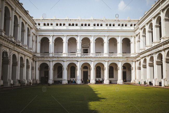 Kolkata, India - April 4, 2018: The interior courtyard of the Indian Museum in Kolkata, India