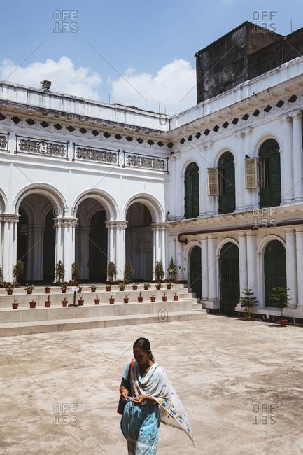 Kolkata, India - April 3, 2018: The interior courtyard of Tagore's House in Kolkata, India
