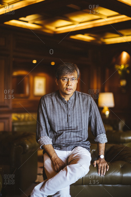 Kolkata, India - April 3, 2018: A portrait of Amit Chaudhuri, a Bengali writer and university professor, at the Taj Bengal in Kolkata