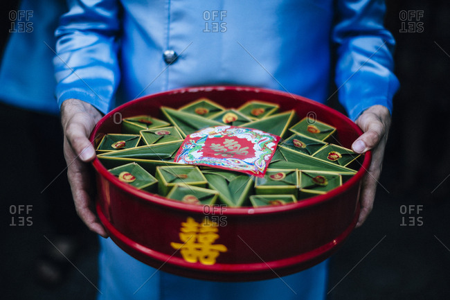 Nha Trang, Vietnam - July 28, 2018: Traditional gifts and the double happiness sign at a local Vietnamese wedding