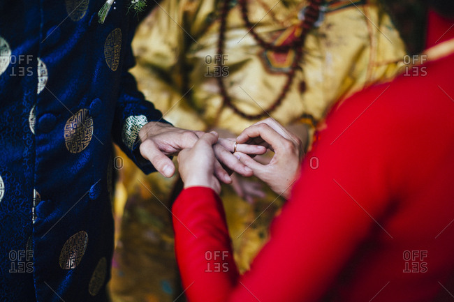 Nha Trang, Vietnam - July 28, 2018: A Buddhist wedding ceremony in southern Vietnam