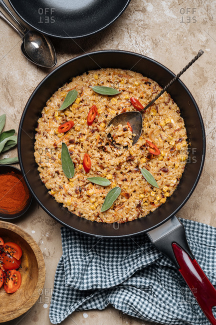 Rice dish in a skillet ready to serve