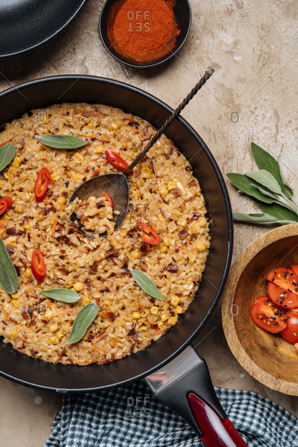 Rice dish in a frying pan ready to serve